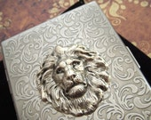 Silver Lion Cigarette Case Antiqued Silver Large Card Holder Gothic Victorian Steampunk Accessories