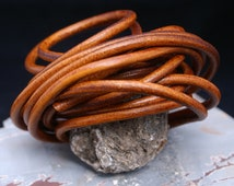 Copper Brown 5mm Round Leather Cord, Organic Leather, 2+ feet straps / Leather Jewelry, Mens Leather Jewelry, Thick Leather Cord / Rust