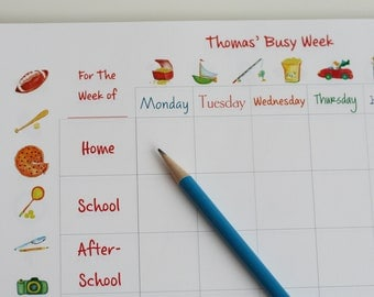 Calendar: My Busy Week for Boys Personalized