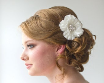 Wedding Hair Accessory, Bridal Headpiece, Silk Flower Hair Clip - TARA