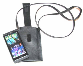 Black Leather Cross Body Cell Phone Case with Tabs Handmade
