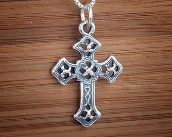 Filigree Cross Pendant - STERLING SILVER - (Pendant, Necklace, or Earrings)