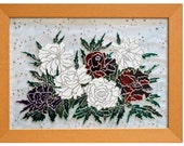 Glass painting - white and purple red peonies - Decorative Glass Art - Ready to ship