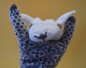 hand knit Estonian sheep puppet