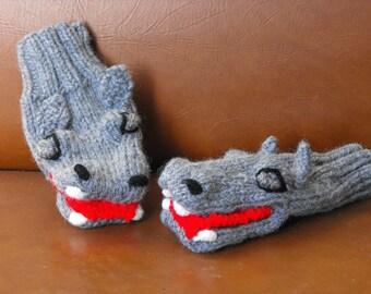 Hand Knit Baby Hippo Puppet Mittens Original Design Bonnie Palmer (Toddlers-3 yrs)