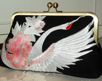 Silk Bag/Purse/Clutch..Embroidered Crane..Bridal/Wedding..Chrysanthemum Floral/Kimono Fabric..Birthday..Ivory/pink/black