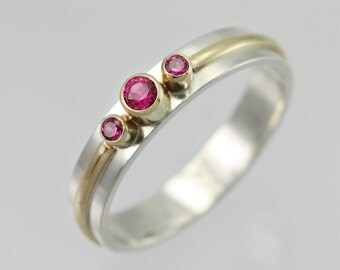 3 Stone Wrap Ring 14K (Ruby) Made to Order