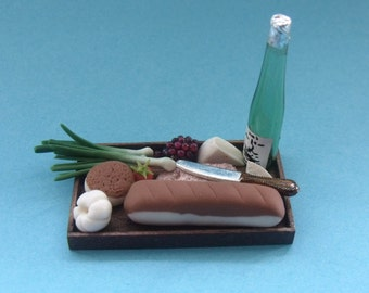 1.12th Scale Dolls House Miniature Hand Made Food Item, Wood Tray filled with Miniature Bread, Cheeses, Wine & more