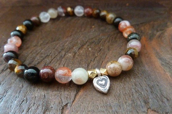 Open Heart Mala Bracelet - Reiki, Mala, Yoga, Buddhist Worry Bead, Prayer Beads, Heart Chakra, Gemstone Mala, Layering Bracelet