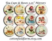 Tea Cups and Roses Wedding Bridal  Mirrors 2.25 Inch for Shower, Wedding or Birthday Favors Set of 12