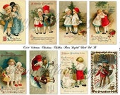 Victorian Christmas Children Digital Sheet C-229 Set B for Cards, Tags, Scrapbooking