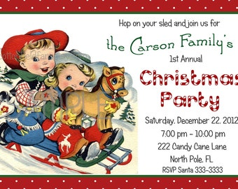 Retro Christmas Party Invitation Digital Printable Personalized C-374 Retro Cowboy Cowgirl On Sled