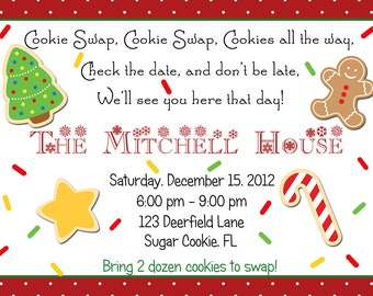 Cookie Swap Christmas Party Invitation Personalized Digital Download Printable C-380