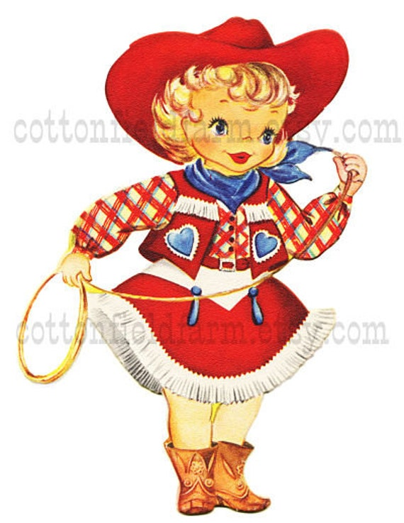 Retro Cowgirl With Rope Clip Art C-334 for by Cottonfieldfarm