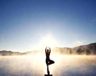 "Yoga Art Photo - Tree Pose ""Vrksasana"" on Foggy Mountain Lake at Sunrise - 8x10 Color Nature Photography Inspiration Print"