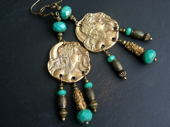 Dangle Earrings, Gypsy Woman, Turquoise Beads, Shoulder Duster Earrings