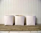 set of three vintage blanket baskets - white - storage baskets - organization - fabric basket - large basket - gift basket