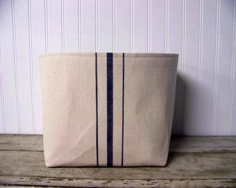free shipping - grainsack basket - navy stripe - vintage style - canvas - storage - organization - gift basket - fabric bin
