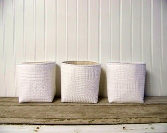 free shipping - set of three vintage blanket baskets - white - storage baskets - organization - fabric basket - large basket - gift basket