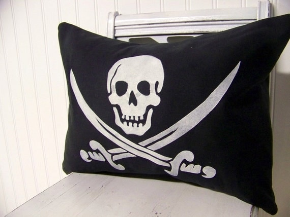 pirate flag pillow cover silhouette halloween home decor
