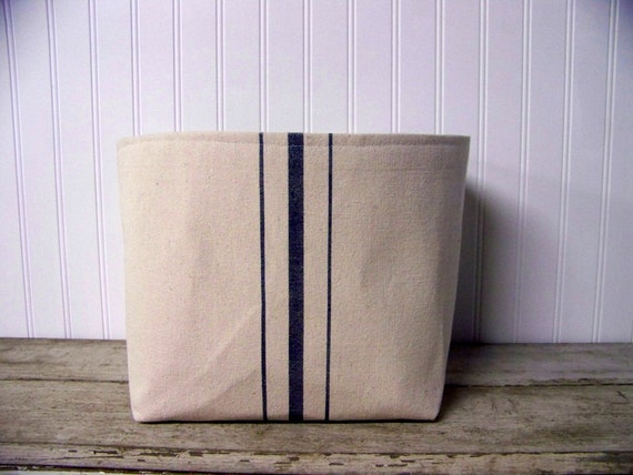 grainsack basket - navy stripe - vintage style - canvas - storage - organization - gift basket - fabric bin