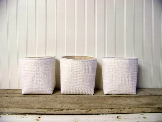 set of three vintage blanket baskets - white - storage baskets - organization - fabric basket - large basket - gift basket
