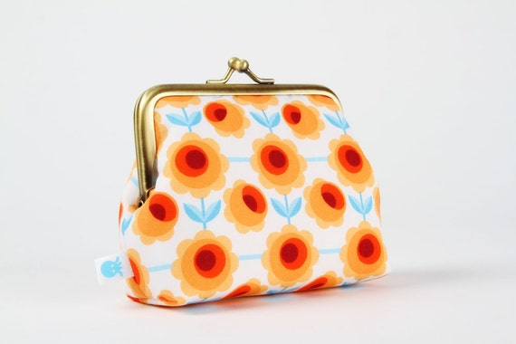 Deep dad - Blossom orange - metal frame purse
