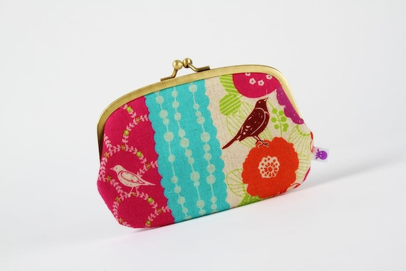 Big siamese - Echino floral stripes in pink and purple  - double metal frame purse