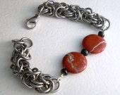 Red Jasper Byzantine Chain Maille Bracelet Reserved Listing