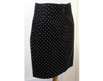 Vintage 80's Mexx black&white polka dot corduroy skirt