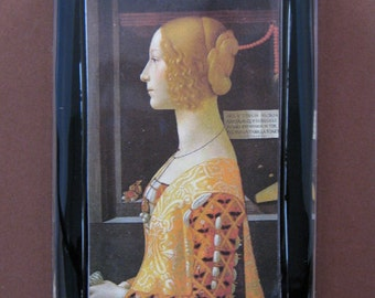 "Italian Renaissance ""Portrait of Giovanna Tornabuoni"" by Domenico Ghirlandaio Rectangle Glass Paperweight"