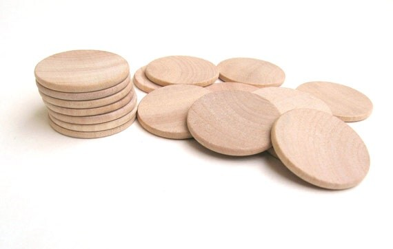 """50 - 1 1/2"""" Unfinished Wooden Circles - 1 1/2 Inch - 38 mm - Wood Discs for Crafting"""