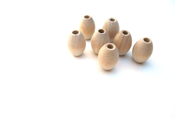 25 Oval Wooden Beads - 3/4 Inch Long (20 mm) with 5/32 Inch (4 mm) Hole - Unfinished Wood Beads