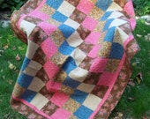 Clearence Patchwork Lap Quilt, Quilted Throw or Picnic Blanket