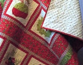 Christmas Elf Lap Quilt, Throw Quilt, Wall Hanging with Minky Backing Red White Green