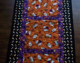 Halloween Table Runner Quilted Orange Black Purple