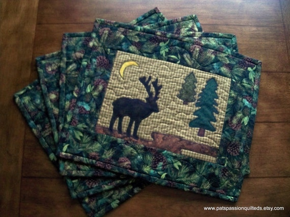 Moose Quilted Place Mats , Moose Cabin Place Mats , Adirondack Placemats ,  Applique Moose  Set of 4
