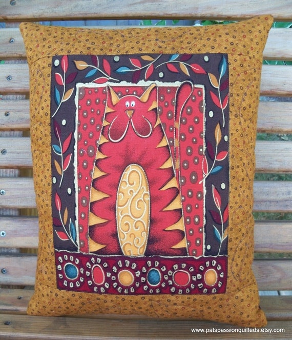 "Decorative Throw Pillow Folk Art Cat Quilted  11.5"" X 14"""