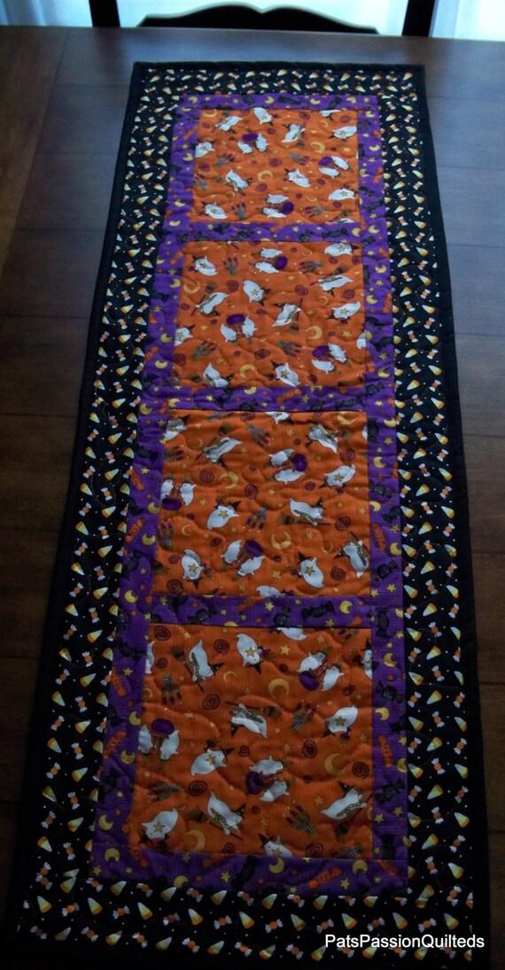 Halloween Table Runner Quilted Orange Black Purple