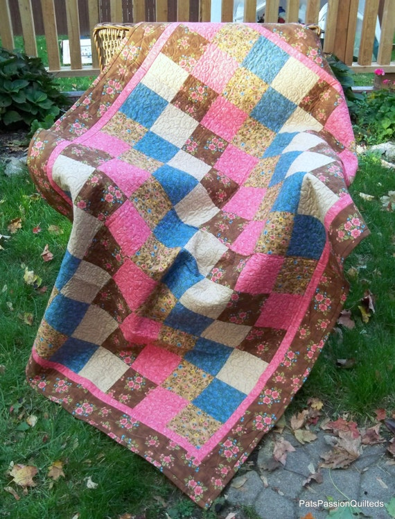 Sale Quilted Lap Quilt, Handmade Quilted Throw, Quilted Blanket, Brown Blue Lap Quilt