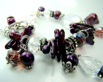 Purple pearl bracelet, chunky statement bracelet, pearl charm bracelet,... DARK ORCHID