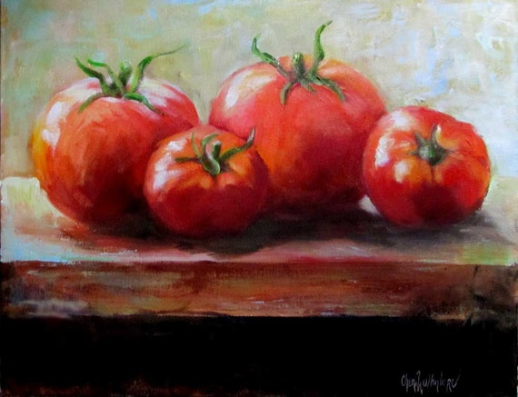 Tomatoes On A Window Sill Food Painting Original Oil On Canvas