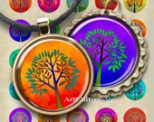 1 inch (25mm) circle images GLOWING TREES printable download Digital Collage Sheet for pendants bottlecaps bezel trays paper craft Art Cult