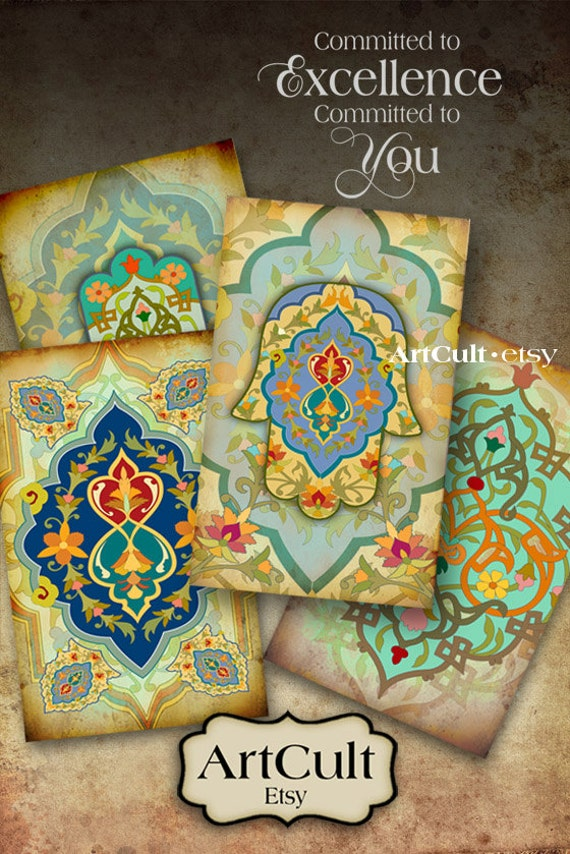 Printable Download images MARRAKECH Digital Collage Sheet Moroccan style 2.5x4 inch size Gift Tags hamsa ornaments  jewelry holders ArtCult