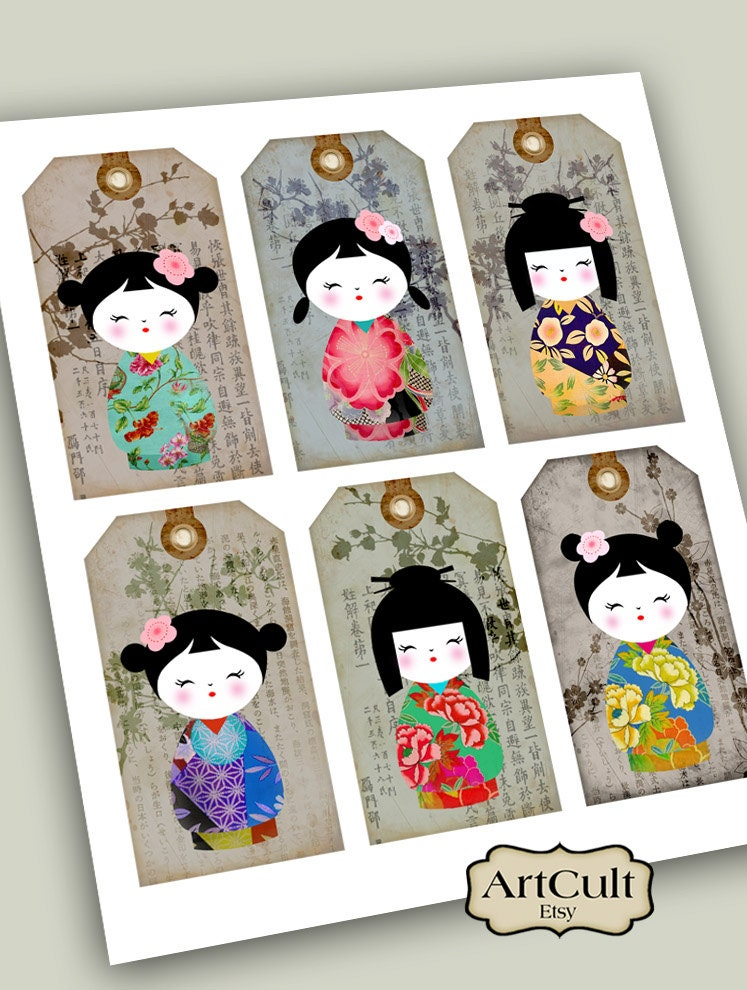 Printable download kokeshi gift tags traditional dolls for Japanese inspired gifts