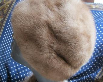 Vintage high dome fur hat, blond taupe latte mink fur hat, fur hat from Halle Bros.