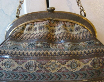 Vintage tapestry needlepoint shaped handbag, tapestry distressed faux trim sturdy handbag, tapestry bag with chain handle by Rosenfeld