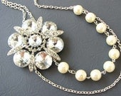 Wedding Necklace Bridal Jewelry Set Bridal Statement Necklace Flower Necklace Ivory Pearl Wedding Jewelry Bridesmaid Gift