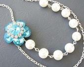 Turquoise Wedding Jewelry Pearl Bridal Necklace Flower Necklace Wedding Necklace Bridesmaid Gift Elegant Necklace Vintage Style