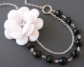 Flower Necklace Black and White Jewelry Statement Necklace Black Jewelry White Necklace Gift For Her Beadwork
